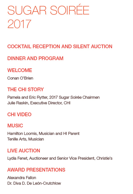 Sugar Soiree Program order