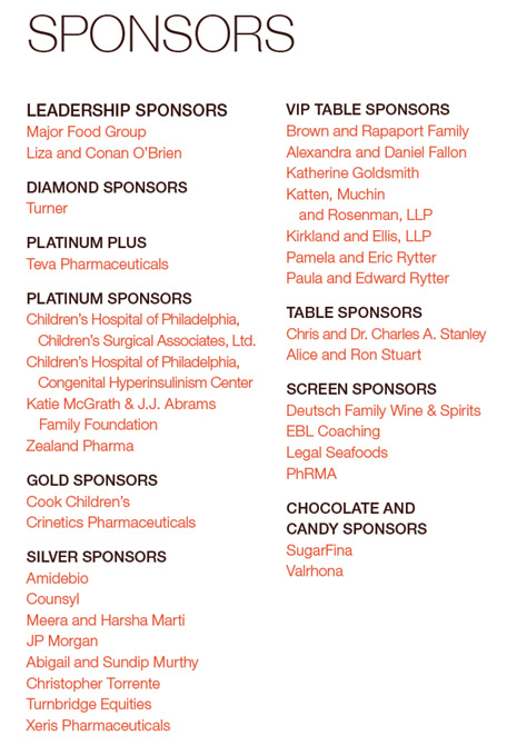 Sponsors of the 2017 Sugar Soiree